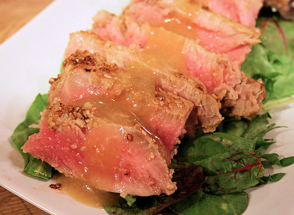 Sesame Seared Tuna with Miso Ginger Dressing